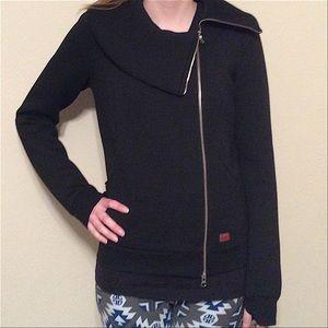 Peace Love World Jackets Coats Asymmetric Zip Front Scuba Knit Jacket